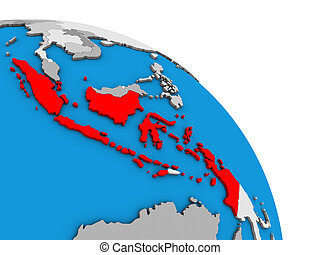 Indonesia on 3D globe