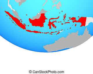 Indonesia on globe