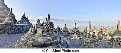 indonesia., panorama, yogyakarta, borobudur, java, tempel