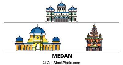 indonesia, plano, illustration., ciudad, señales, famoso, ...