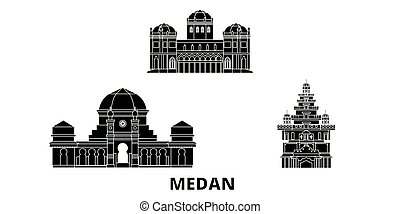indonesia, plano, ilustración, viaje, landmarks., símbolo, ...