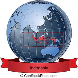 Indonesia, position on the globe Vector version with ...