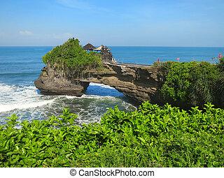 indonesia, pura, bali, bolong, batu, roccia, tempio, oceano
