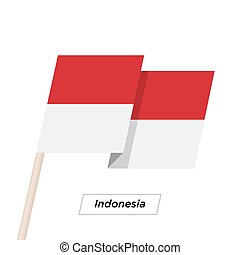 Indonesia Ribbon Waving Flag Isolated on White. Vector ...