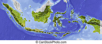 Indonesia Shaded relief map. Surrounding territory greyed out. Colored according to elevation and dominant vegetation. Includes clip path for the state area.