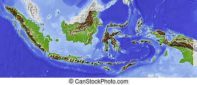Indonesia, shaded relief map - Indonesia. Shaded relief map....