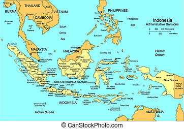 Indonesia, editable vector map broken down by administrative districts includes surrounding countries, in color with cities, district names and capitals, all objects editable. Great for building sales and marketing territory maps, illustrations, web graphics and graphic design. Includes sections of ...