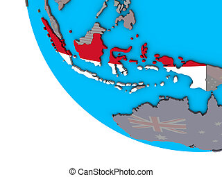 Indonesia with flag on 3D globe