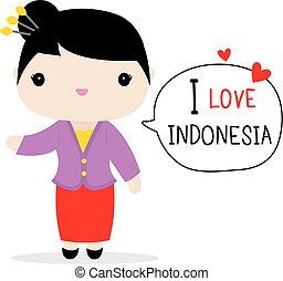 Indonesia Women National Dress Cartoon Vector