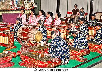 indonesia., yogyakarta, músico, wayang, java, kulit