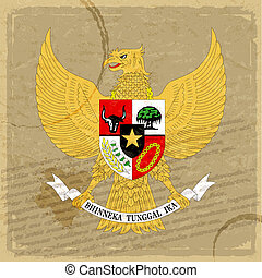 Indonesian coat of arms on an old sheet of paper