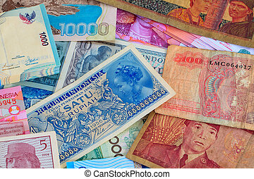 Indonesian Currency, colorful bank notes, some very old from the 1950's