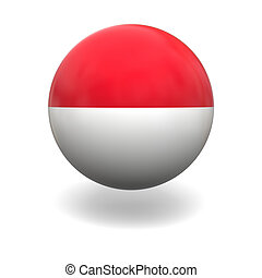 National flag of Indonesia on sphere isolated on white background