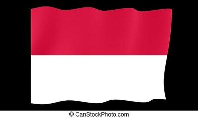 Indonesian flag. Waving
