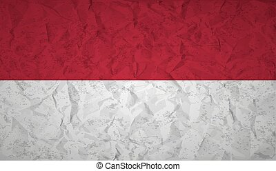 Indonesian flag with the effect of crumpled paper and grunge...