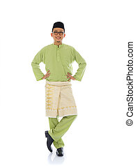 indonesian male during ramadan festival with isolated white...