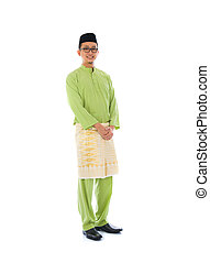 indonesian male during ramadan festival with isolated white background