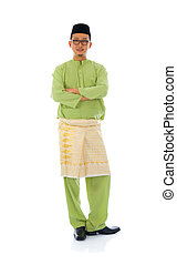 indonesian male during ramadan  aidilfitri  festival with isolated white background