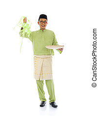 indonesian male with ketupat during ramadan festival with isolated white background