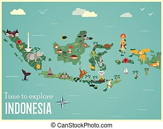 Indonesian map with animals and landmarks