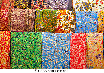 Indonesian market - Assortment of colorful sarongs for sale