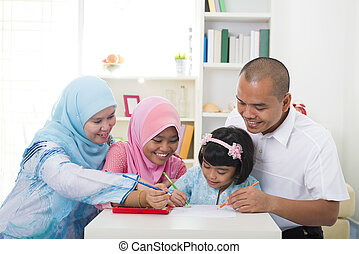 indonesian muslim family learning together with lifestyle backg