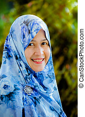 Indonesian muslim model wearing hijab