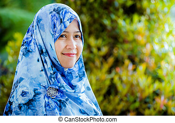 Indonesian muslim model wearing hijab