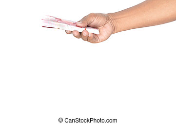 Indonesian paper money in hand