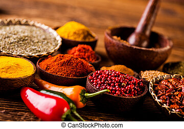 Indonesian seasoning with oriental wooden bowls - ...