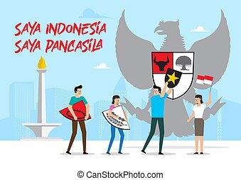 Indonesian symbol, Garuda Pancasila. Saya Indonesia, saya Pancasila means I am Indonesian, I am Pancasila. Vector Illustration