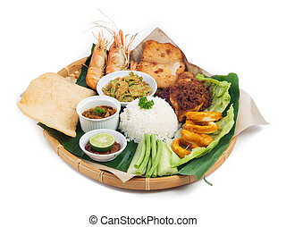 Indonesian traditional food, chicken, fish, vegetables