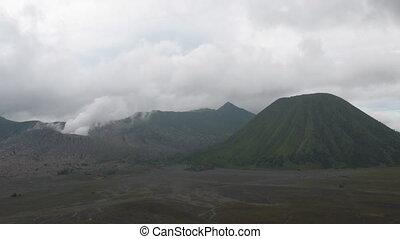 Indonesian volcanos lanscape timela - Bromo, Batok and...