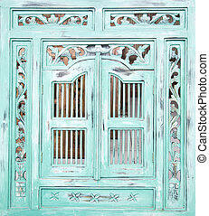 Indonesian window - Traditional Indonesian wood carved...
