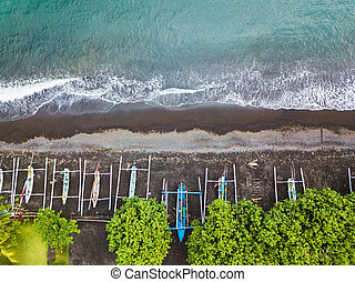 indonesiano, aereo, tradizionale, barche pescano, spiaggia, vista