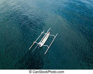 indonesiano, aereo, tradizionale, peschereccio, vista