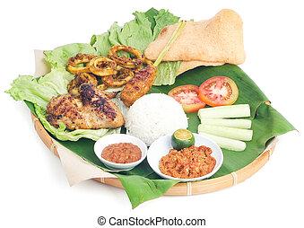 indonesiano, fish, verdura, cibo, tradizionale, pollo