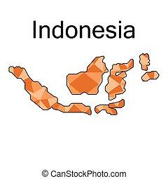 indonesie, kaart, laag, veelhoek