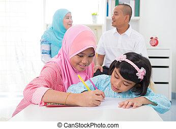 indonesien, familie, moslem, malaiisch, färbung, home.