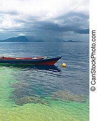 indonesio, barco, tradicional, pesca, islas, banda