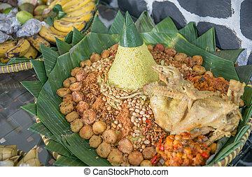 indonesio, especial, tumpeng, ocassion, comida