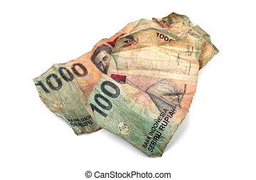 indonesio, foto, dos, aislado, billetes de banco, fondo.,...