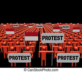 indonesio, multitud, gente, ilustración, protesta, banderas...