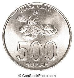 indonesio, rupiah, 500, moneda