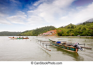 indonesio, tradicional, barco