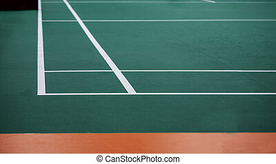Indoor badminton court, selective focus