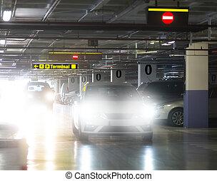 Indoor car park at airport