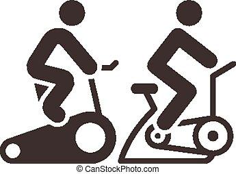 indoor, ciclismo, ícones