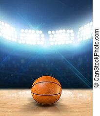 Indoor Floodlit Basketball Court - An indoor basketball...