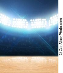 Indoor Floodlit Gymnasium - An indoor gynasium with an...